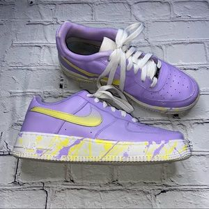 Nike Air Force 1 Custom Youth Lilac & Yellow Splatter Youth Size 6.5 Women's 8